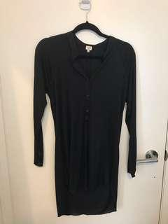 Wilfred (Aritzia) Long-Sleeve Black Shirt Dress XS