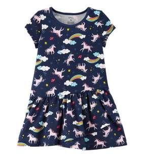 🚚 BN Carters Baby Toddler Girl Unicorn Jersey Dress 12mths/24mths/2T/3T avail!