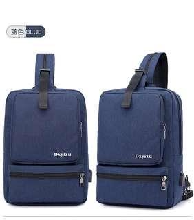 🚚 【Q夫妻】韓版 連接USB充電接口 多口 斜背包 斜跨包 帆布包 休閒包 雙肩包 後背包 單肩包 胸包 單雙肩兩用包 藍色 #B0043-3