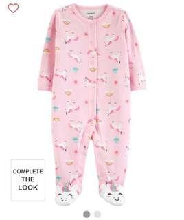 🚚 BN Carters Baby Girl One Piece Unicorn Romper / Coverall 3 months & 6months avail!