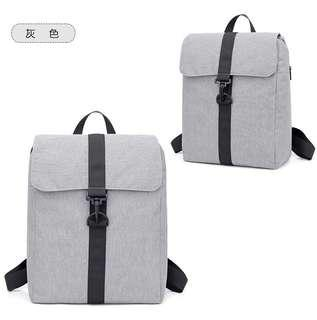 🚚 【Q夫妻】 韓版時尚 書包 旅行包 休閒包 後背包 雙肩包 帆布包 灰色 #B1028-3