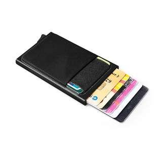 RFID Automatic Pop Up Aluminium Credit Card Wallet With Pocket ID Card Coin Holder Fashion For Men and Women Slim Minimalist Wallet