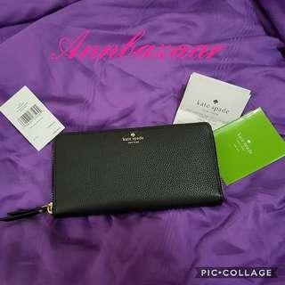 INSTOCK SPECIAL OFFER! Kate Spade Neda Larchmont Avenue Zip Over Long Wallet- Black (100% Authentic)