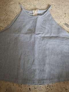 🚚 Stripy blue white crop top