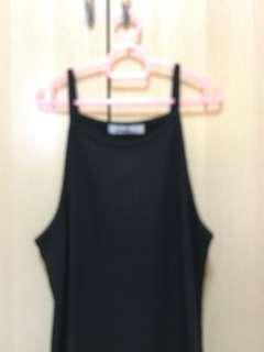 brandy melville ribbed black halter top