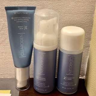 USED Clearogen Hormonal Acne Solution Natural Anti-DHT Ingredients Travel Set Original Formula Benzoyl Peroxide