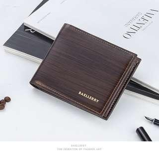 🚚 【Q夫妻】Baellerry Wallet PU滑面皮革 橫款 短皮夾 多卡位 男用 深咖啡色  #BB004-2
