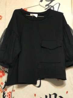 全新 黑色喱士袖上衣