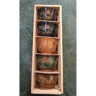 🚚 日式高級瓷器五色茶杯組
