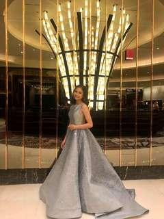 Shimmering Silver Gown for RENT