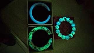 🚚 天然西藏三彩夜明珠手珠手 環