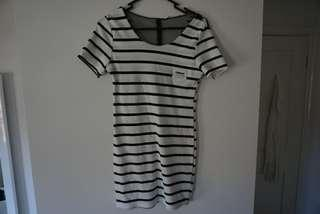 Black and white striped tshirt dress