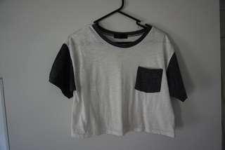 Dark grey pocket crop top