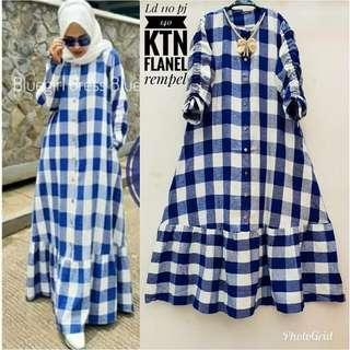 Gamis flannel blue