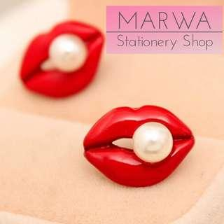 Red Lips And Pearl Stud Earring (E113)