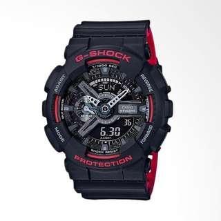Jam Tangan Pria Casio G-Shock GA 110HR 1ADR Rubber Black Original Murah