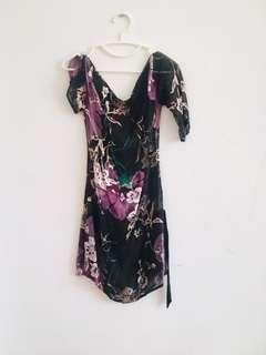 Asymmetical one shoulder dress with velvet purple flower print  size S/M