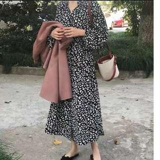 黑色豹紋碎花連身洋裝 #半價衣服市集