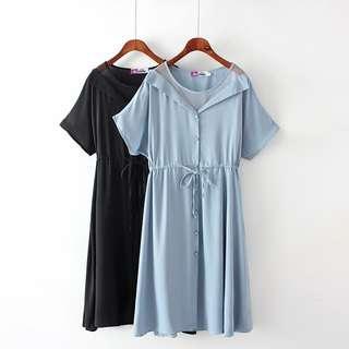 DB108 棉料 + 滌綸料假兩件套網紗拼接排扣裝飾連身裙 (XL XXL XXXL XXXXL)