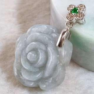 🚚 🌹花開富貴🌹天然緬甸玉A貨翡翠-紫底 精雕 小玫瑰花 造型墬