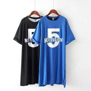 DB956 棉料數字字母開叉連身裙 (XL XXL XXXL)
