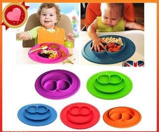 🚚 Instock Mini size smile Baby silicone placemat divided dosh bowl plates