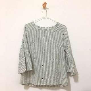 🚚 韓製花草刺繡七分袖 #半價衣服市集