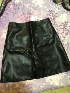 🚚 BNWT PVC Leather Skirt with hidden shorts underneath