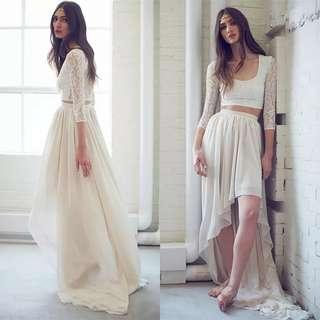 2 piece high low white dress / Evening Gown