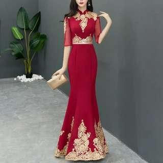 Red elegant gold embroidery Dress / evening gown