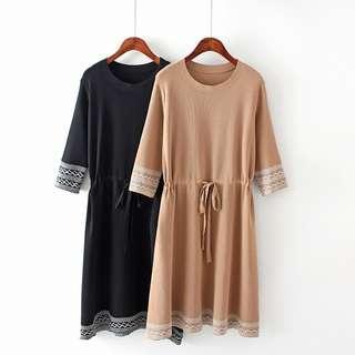 DB365 針織棉料波浪紋圖案連身裙