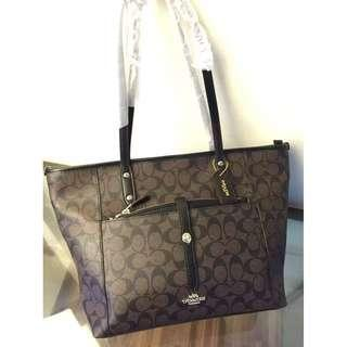 Authentic Coach Tote with Front Pocket - Black