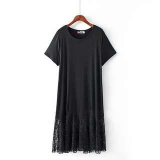DB139 針織棉料 + 蕾絲料拼接圓領連身裙 (XL XXL XXXL)