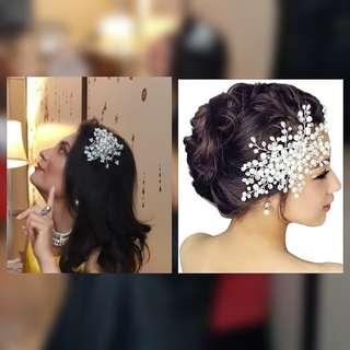 Imported Pearl and Crystal Hair Piece