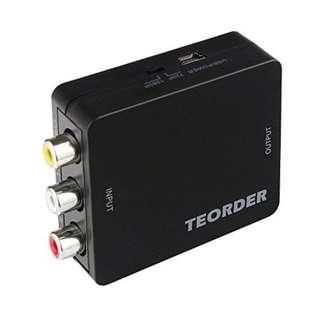 Teorder RCA Composite AV CVBS to HDMI Audio Video Mini Converter Adaptor Full HD 720P 1080P with USB Charge Cable