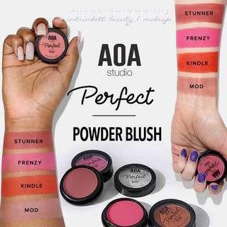 Perfect Powder Blush. Romantic Shades. US AOA Studio Cruelty-free Cosmetic