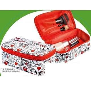包順豐櫃 1套2件iiJin Cosmetic Pouch 紅色萬用袋 化妝袋 + DIY Magic Pouch 黑色化妝袋 小物袋 隨身袋 筆袋 Bag