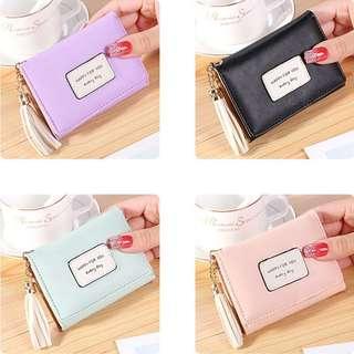 Short Wallet Women Candy Color Tassel Three Fold Mini Purses Coin Bags
