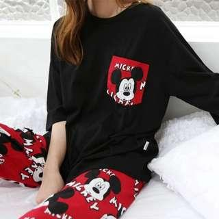 Women Pyjamas Mickey Sleepwear Round Neck Long Sleeve Tops+Pants Set