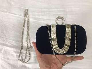 🚚 Lady Clutch Evening Bag with chain strap (Color: Dark Blue)