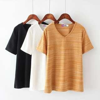 DB204 針織棉料坑紋V領上衣 (XL XXL XXXL)
