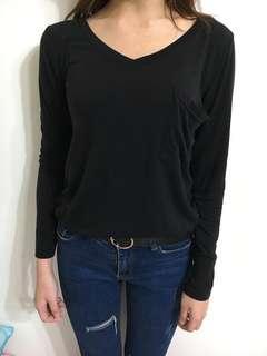 🚚 Queen shop 黑色大口袋素T #半價衣服市集