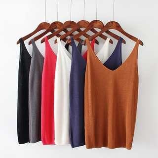 DB743 針織棉料素面吊帶背心 上衣