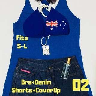 💫 Bikini Bra + Denim Shorts + Cover Up