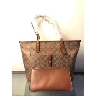 Authentic Coach Tote with Front Pocket - Khaki