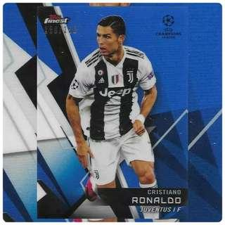 🚚 Topps Finest Champions League 2018/2019 Cristiano Ronaldo Blue Parallel 150/150