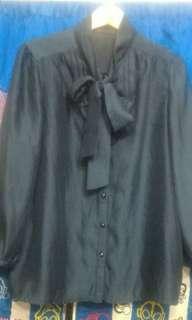 (⚡快閃$15)深藍色薄麻料打結7分袖shirt