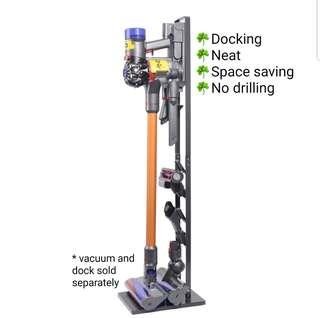 Dyson Vacuum Stand Freestanding **Neat and Space Saving** for Dyson Handheld V6 V7 V8 V10 Cordless Vacuum Cleaners. No Drilling The Wall and able to mount docking (vacuum and docking sold separately).