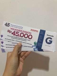💕TERMURAH💕FOR SALE VOUCHER GRAMEDIA 45.000 READY BANYAK