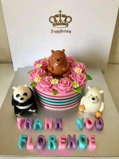 We bare bear roses jelly cake